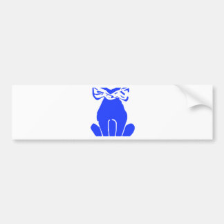 Blue Cat with Bow Tie Bumper Sticker