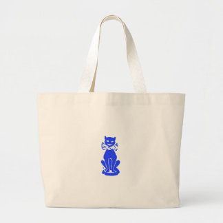 Blue Cat with Bow Tie Large Tote Bag