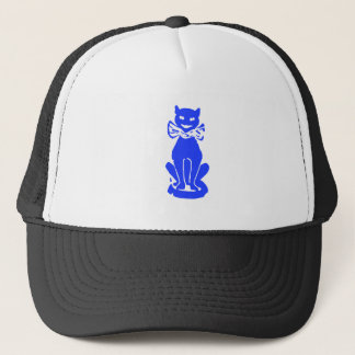 Blue Cat with Bow Tie Trucker Hat