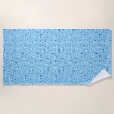 Beach Themed Blue Cats Beach Towel