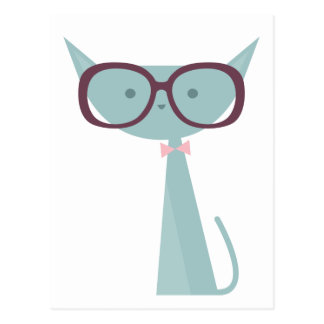 Blue Cats wearing Glasses Postcard