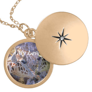 Blue Cave Giraffes Children's Fantasy Gold Plated Necklace