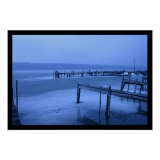 Blue Cayuga Black Poster