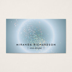 Blue Celestial Confetti Circle Event Planner Business Card at Zazzle