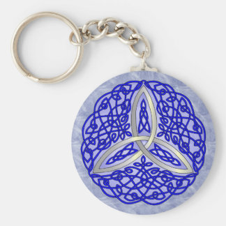 Blue Celtic Art Trinity Knot Basic Round Button Keychain