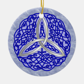Blue Celtic Art Trinity Knot Double-Sided Ceramic Round Christmas Ornament