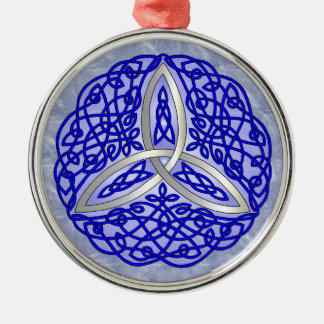 Blue Celtic Art Trinity Knot Round Metal Christmas Ornament