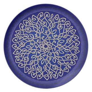 Blue Celtic Burst Melamine Plate