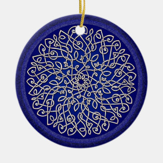 Blue Celtic Burst Double-Sided Ceramic Round Christmas Ornament
