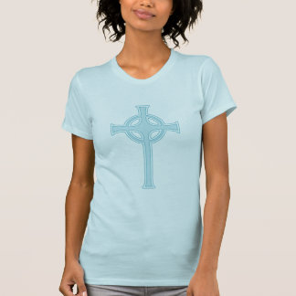 Blue Celtic Chrisitian Cross T-Shirt