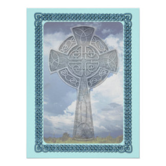 Blue Celtic Cross And Clouds Poster