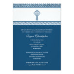 Blue Celtic Cross First Holy Communion Invitation