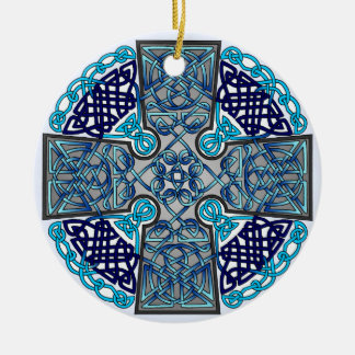 Blue Celtic Cross Medallion Double-Sided Ceramic Round Christmas Ornament
