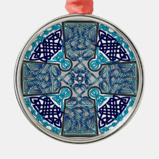 Blue Celtic Cross Medallion Round Metal Christmas Ornament