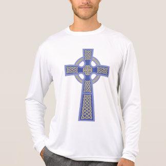 Blue Celtic Cross Men's Micro Fiber Long Sleeve T Shirt