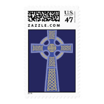 Blue Celtic Cross Postage Stamps