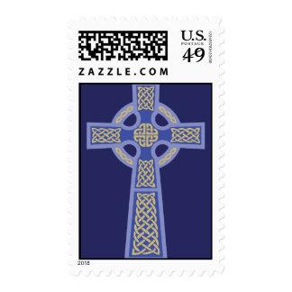 Blue Celtic Cross Postage Stamps