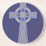 """Blue Celtic Cross Sandstone Coaster<br><div class=""""desc"""">Blue Celtic Cross Sandstone Coaster.  Celtic Crosses were mostly made of stone,  and remained an inspirational symbol around Ireland,  Wales,  and Britain.  Eventually,  the Celtic Cross spread throughout the British Isles.  This design is available in various colors,  so be sure to check out my other Celtic Cross products!</div>"""