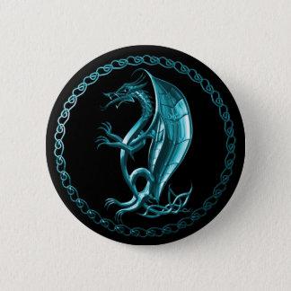 Blue Celtic Dragon Button