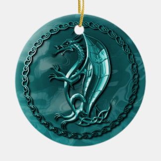 Blue Celtic Dragon Ceramic Ornament