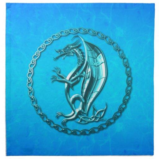 Blue Celtic Dragon Cloth Napkins