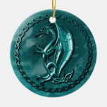 Blue Celtic Dragon Double-Sided Ceramic Round Christmas Ornament