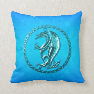 Blue Celtic Dragon Throw Pillows