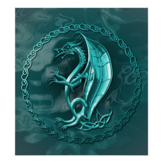 Blue Celtic Dragon Poster