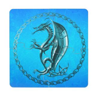 Blue Celtic Dragon Puzzle Coaster