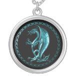 Blue Celtic Dragon Round Pendant Necklace