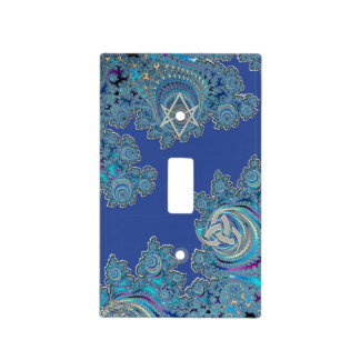 Blue Celtic Fractal Design Light Switch Cover