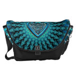 Blue Celtic Heart Knot Fractal Messenger Bag