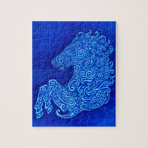 Blue Celtic Horse Abstract Design Puzzle