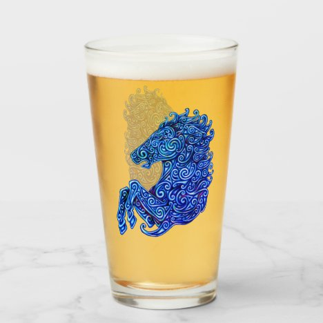 Blue Celtic Horse Abstract Spirals Glass Cup
