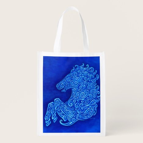 Blue Celtic Horse Abstract Spirals Grocery Bag