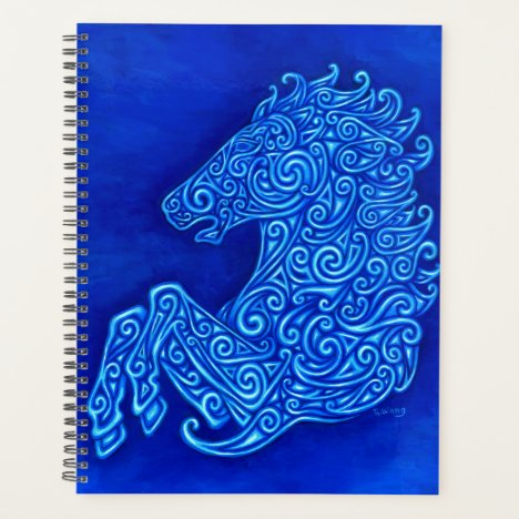 Blue Celtic Horse Abstract Spirals Planner