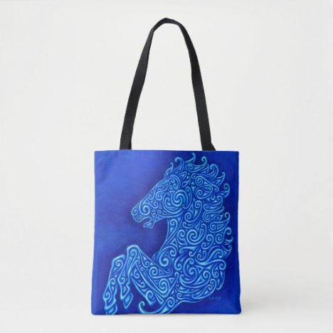 Blue Celtic Horse Abstract Spirals Tote Bag