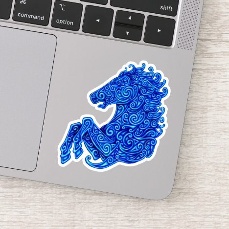 Blue Celtic Horse Custom-Cut Vinyl Sticker