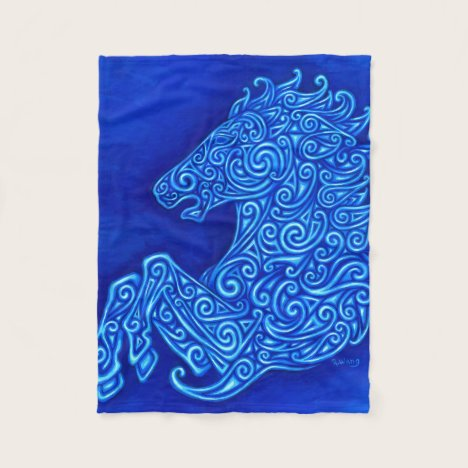 Blue Celtic Horse Fleece Blanket