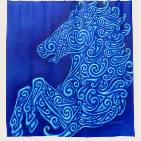 Blue Celtic Horse Spiral shower curtain