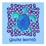 Blue Celtic Knot Turtle Invitations