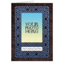 Blue Celtic Knotwork Photo Frame Greeting Card