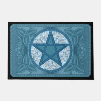 Blue Celtic Pentagram, Tri-Quatras & Birds #1 Doormat