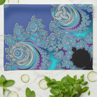 Blue Celtic Symbol Fractal Kitchen Towels