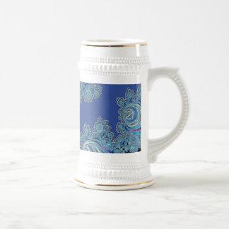 Blue Celtic Symbol Fractal 18 Oz Beer Stein