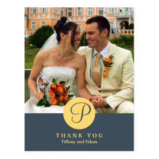 Blue center classic monogram photo thank you note postcard
