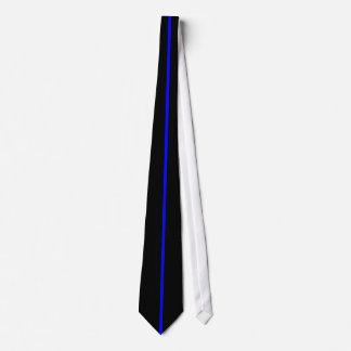 Blue Centered Thin Vertical Line on Black Neck Tie