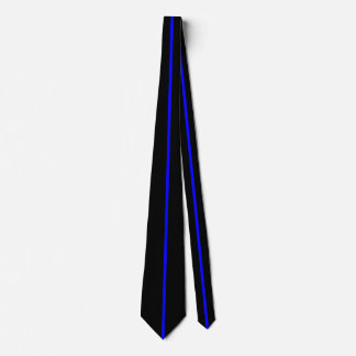 Blue Centered Thin Vertical Line on Black Tie