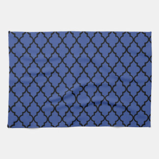 Blue Cerulean & Black Maroccan Trellis Quatrefoil Kitchen Towels