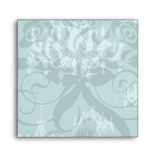 blue chadelier damask on aqua blue envelope